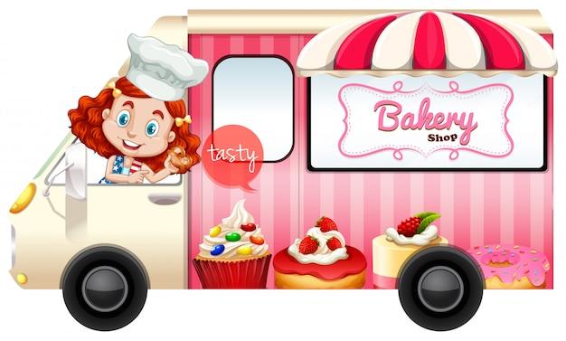 Caminhão de padaria com padeiro dirigindo