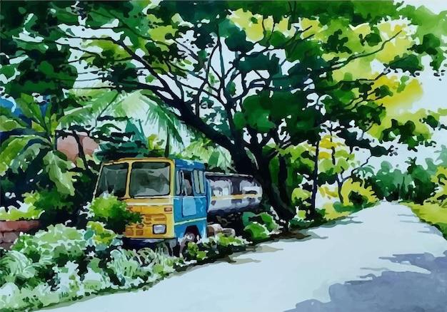 Caminhão de pintura em aquarela na beira da estrada