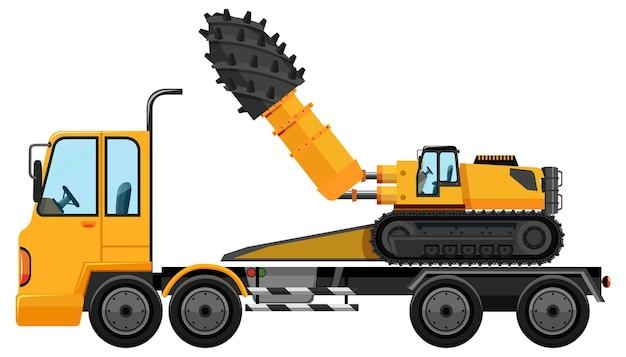 Caminhão de reboque carregando carro de construção isolado no branco