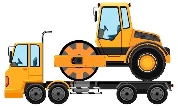 Caminhão de reboque carregando rolo-compactador