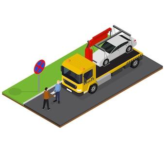 Caminhão de reboque isometric view auto car service reparação e transporte acidente ou acidente. ilustração vetorial