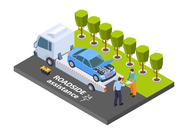 Caminhão de reboque isométrico. conceito de assistência rodoviária. ilustração de caminhão de evacuação, ajuda para transporte de veículos
