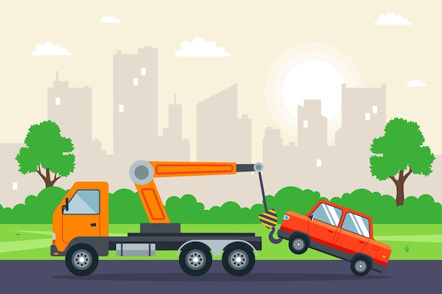 Caminhão de reboque rebocando um carro na cidade