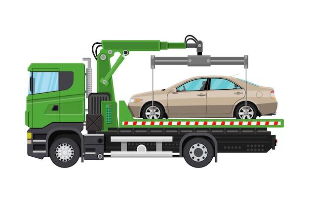 Caminhão de reboque. serviço de assistência do lado da estrada da cidade.