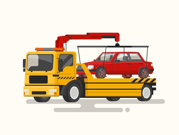 Caminhão de reboque transportando uma ilustração de máquina quebrada