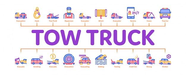 Caminhão de reboque transporte mínimo infográfico banner