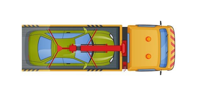 Caminhão de reboque urbano carregando vista superior do automóvel. reboque ou socorro emergencial no transporte rodoviário de caminhões após reparos, acidentes, estacionamento incorreto. condução do evacuador com reboque quebrado ou danificado carro vetor plano