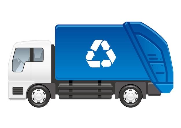 Caminhão de reciclagem isolado em uma ilustração vetorial de fundo branco