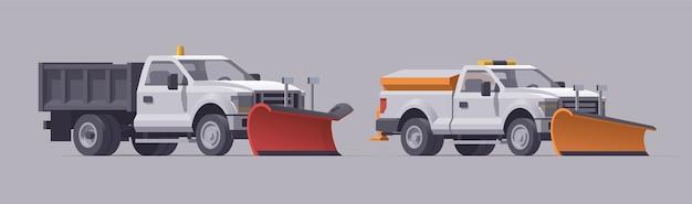 Caminhão de remoção de neve. remoção de neve. espalhador de sal. ilustração