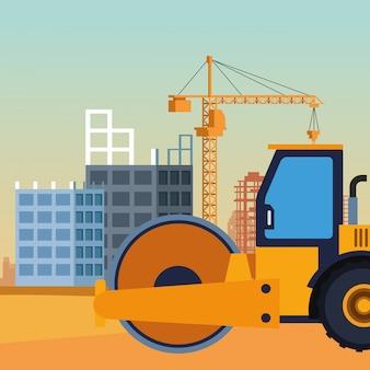 Caminhão de rolo de estrada em cenário de construção