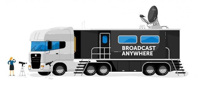 Caminhão de transmissão. radiodifusão