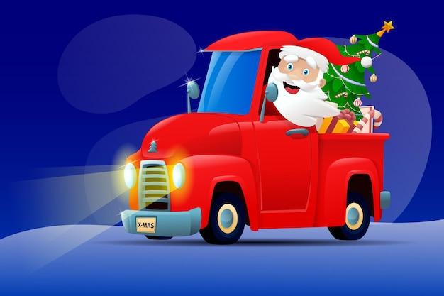 Caminhão do papai noel dos desenhos animados à noite