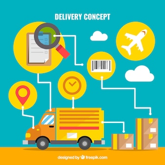 Caminhão e caixas com ícones de entrega Vetor grátis