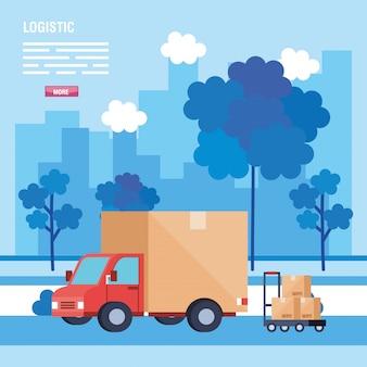 Caminhão e caixas sobre carrinho vector design