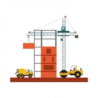 Caminhão e compactador de construção