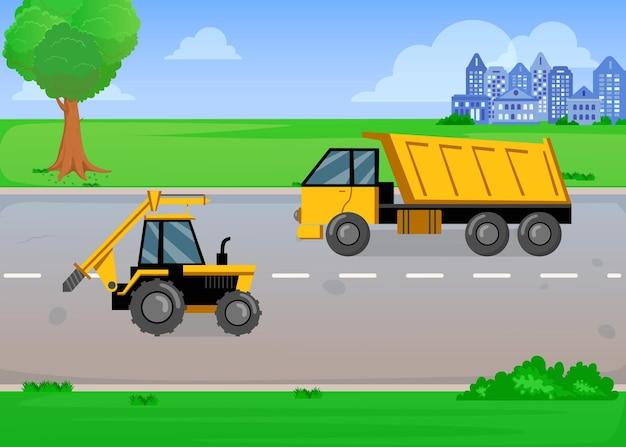 Caminhão e trator amarelo de desenho animado na estrada no verão