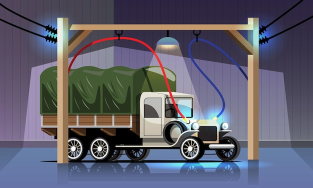 Caminhão elétrico antigo está carregando na estação de energia da garagem