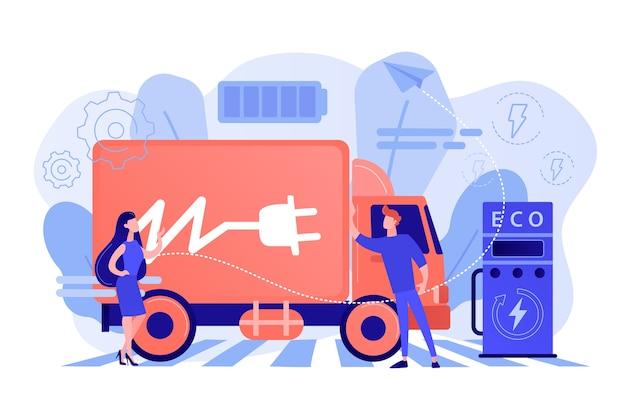 Caminhão elétrico ecológico com bateria recarregável na estação de carregamento