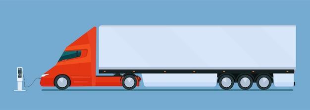 Caminhão elétrico moderno grande com reboque no cargo.