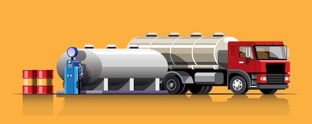 Caminhão em estilo retro com tanque de óleo descarregando óleo de um grande tanque