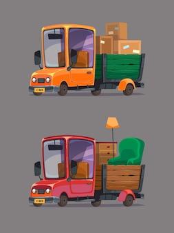Caminhão em movimento com caixas e móveis. conjunto de carros retrô. estilo de desenho animado.