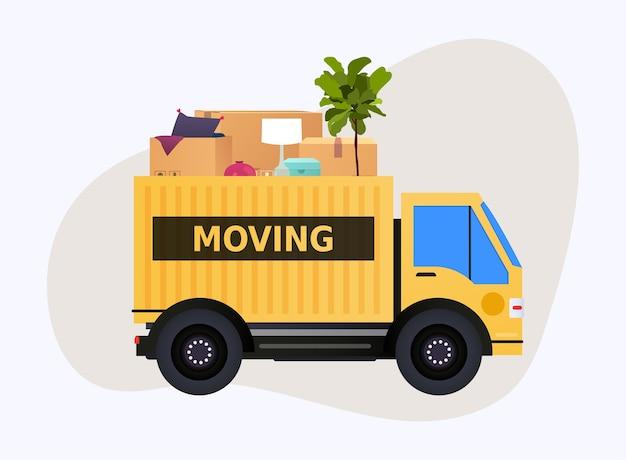 Caminhão em movimento e caixas de papelão. mudança de casa. companhia de transporte.