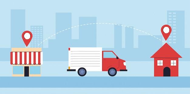 Caminhão entrega entrega para as pessoas em quarentena, entrega de mercadorias