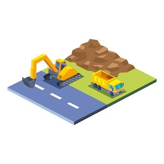 Caminhão escavadeira de construção e design de ícone de estilo isométrico de terra de tema de trabalho e reparo de remodelação