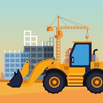 Caminhão escavadeira sob cenário de construção