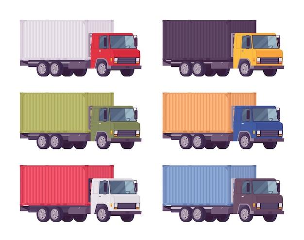 Caminhão euro, recipiente de metal com cores brilhantes