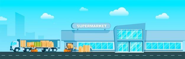 Caminhão expresso que entrega mercadorias ao supermercado