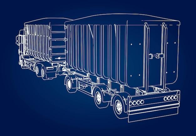 Caminhão grande com reboque separado, para transporte de materiais agrícolas e de construção a granel