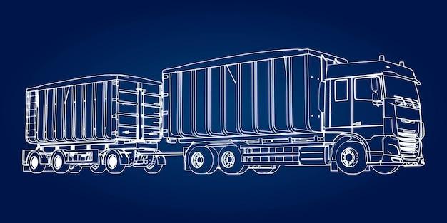 Caminhão grande com reboque separado, para transporte de materiais e produtos agrícolas e de construção a granel.