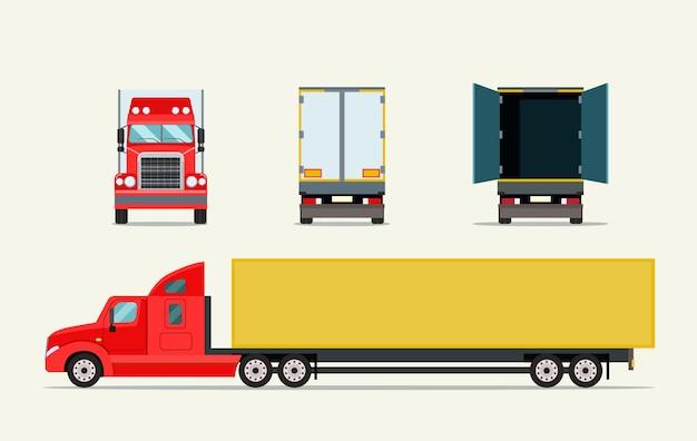 Caminhão grande com reboque. visão frontal, lateral traseira e porta aberta do caminhão. ilustração vetorial