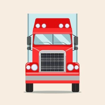 Caminhão grande com reboque. vista frontal.