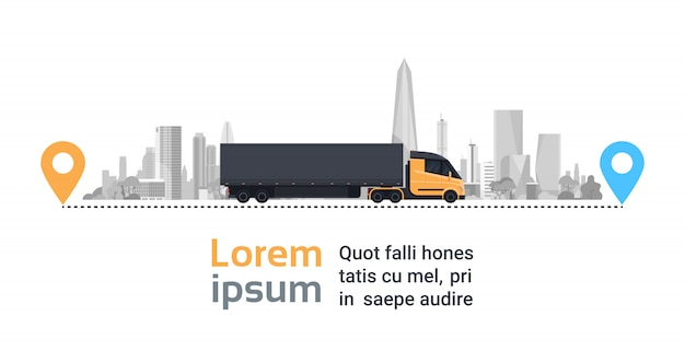Caminhão grande da carga sobre a cidade da silhueta no conceito rápido do transporte da logística da rota da entrega