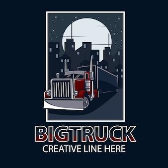 Caminhão grande, em, noturna, cartaz