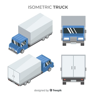 Caminhão isométrico em diferentes pontos de vista