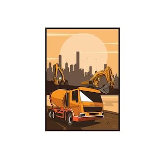 Caminhão misturador e a escavadeira