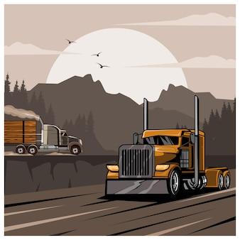 Caminhão nas colinas