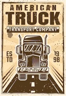 Caminhão no cartaz de publicidade de vetor de estrada em vintage