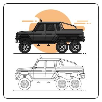 Caminhão offroad de monstro fácil editável