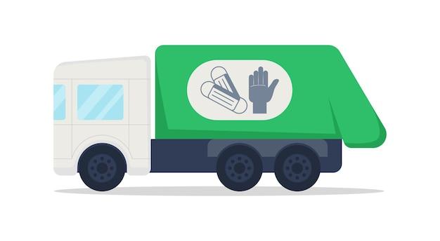 Caminhão para objeto de vetor de cor semi plana de resíduos médicos. caminhão de lixo. veículo de lixo coleta máscaras descartáveis, luvas isoladas, ilustração de estilo de desenho animado moderno para design gráfico e animação