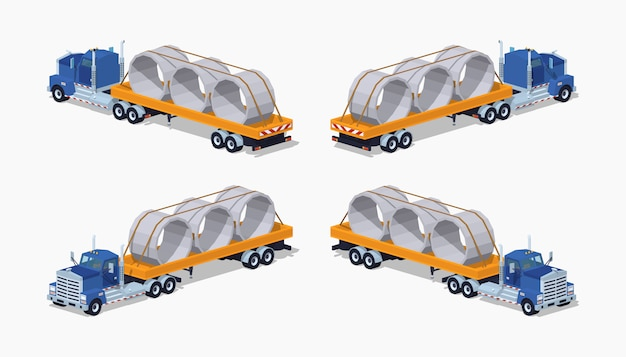 Caminhão pesado isométrico 3d lowpoly