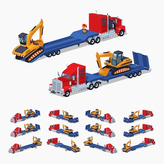 Caminhão pesado isométrico do lowpoly 3d com a máquina escavadora no reboque