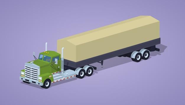 Caminhão pesado isométrico lowpoly 3d e reboque com a tenda