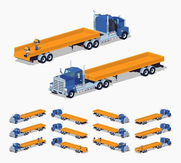 Caminhão pesado isométrico lowpoly 3d e reboque com plataforma