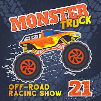 Caminhão pesado monstro com enorme cartaz de corrida de esporte radical de pneus. ilustração em vetor caminhão pesado de corrida extrema de rodas grandes. cartaz de show extremo de carros de rodas grandes