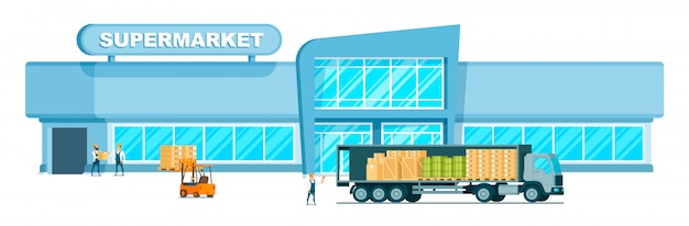 Caminhão rápido do armazém que entrega o peso ao shopping