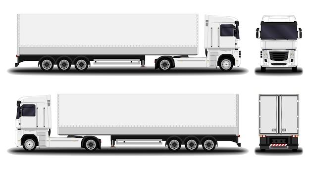 Caminhão realista. vista frontal; vista lateral; vista traseira.